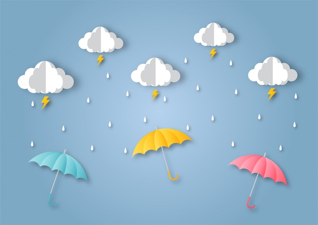 Happy moesson seizoen achtergrond. regenboog in de regen. papier kunststijl. Premium Vector