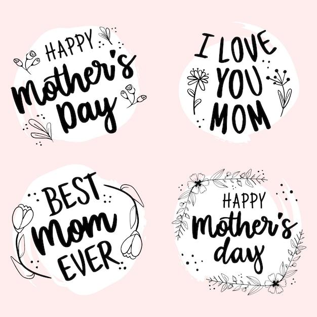 Happy mothers day hand getrokken belettering badge collectie Gratis Vector