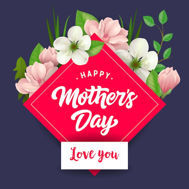 Happy Mothers Day I Love You Belettering Moederdag Wenskaart