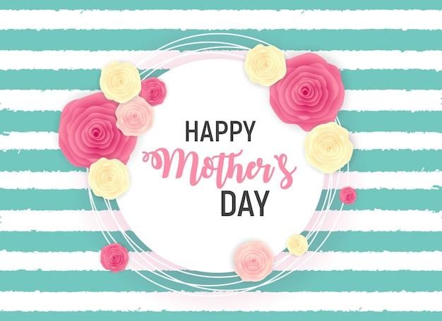 Happy mothers day leuke achtergrond met bloemen. Premium Vector