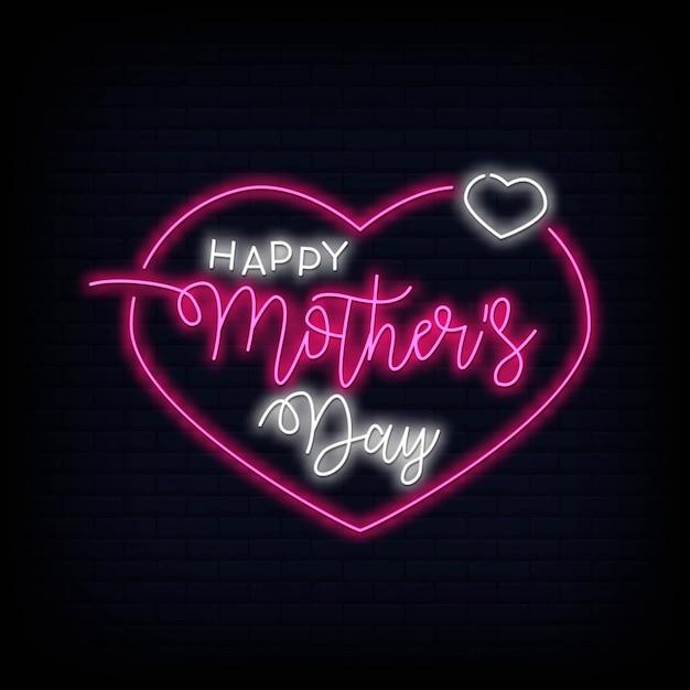 Happy mothers day neon teken vector illustratie Premium Vector