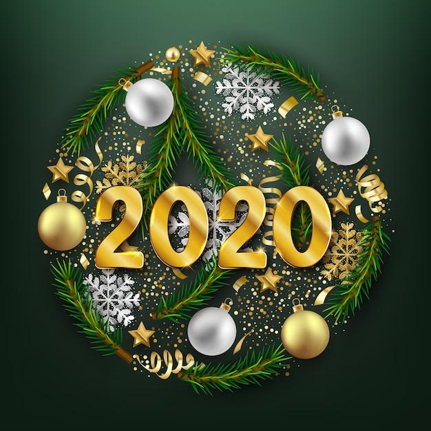 Happy new 2020 year decoratieve ansichtkaart, kerstballen en spar takken decoratie achtergrond Premium Vector