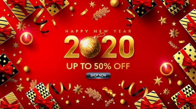 Happy new years 2020 red poster met geschenkdoos en kerstdecoratie-elementen Premium Vector