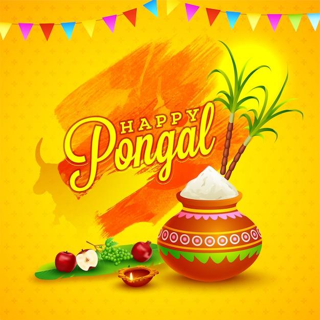 Happy pongal-kaart Premium Vector