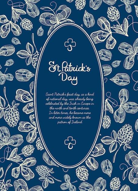 Happy saint patricks day blauwe poster met tekst in ovale lijst en natuurlijke schets ierse klaver Gratis Vector