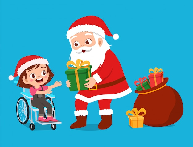 Happy santa cadeau geven aan kinderen Premium Vector
