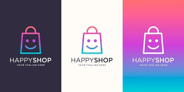 Happy shop, tas gecombineerd met face smile logo designs template, Premium Vector