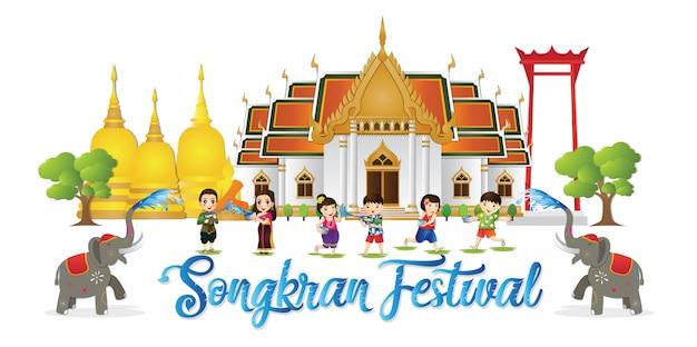 Happy songkran festival is het traditionele thaise nieuwjaar dat in april wordt gevierd Premium Vector