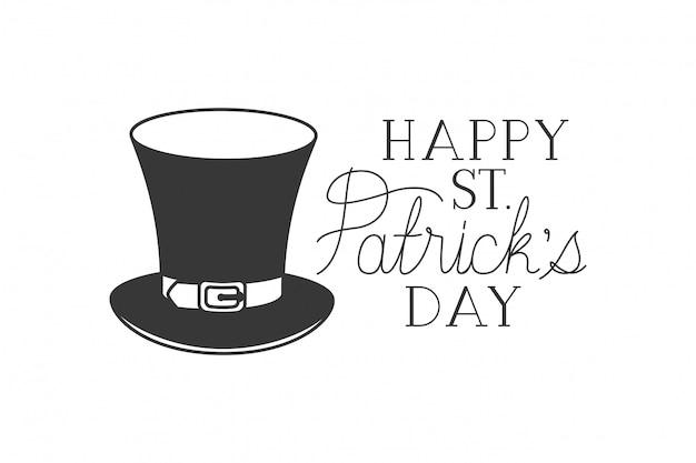 Happy st patrick's day label met kabouter hoed pictogrammen Premium Vector