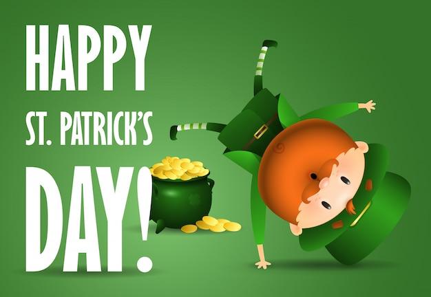Happy st patricks day belettering, vreugdevolle leprechaun, pot met goud Gratis Vector