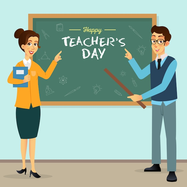 Happy teacher's day cartoon afbeelding. geschikt voor wenskaart, poster en banner Premium Vector