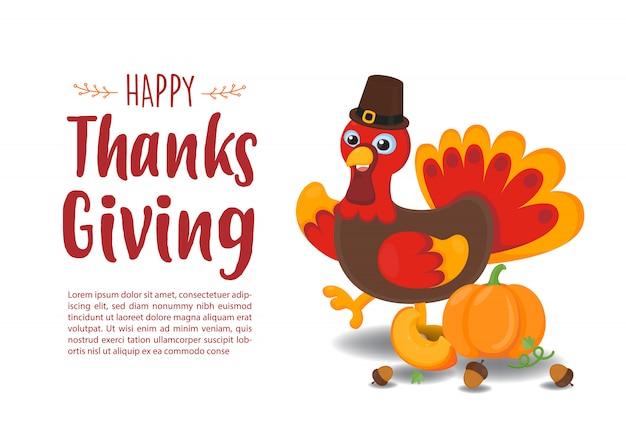 Happy thanks giving wenskaart. leuk turkije met rode de herfstachtergrond. Premium Vector