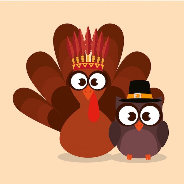 Happy thanks giving with turkey Gratis Vector