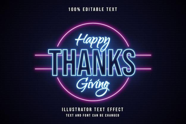 Happy thanksgiving, 3d bewerkbaar teksteffect blauwe neonroze tekststijl Premium Vector