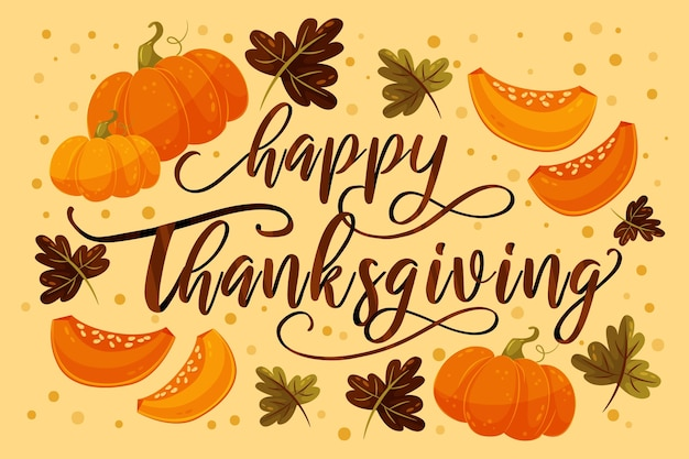 Happy thanksgiving belettering met pompoenen Gratis Vector