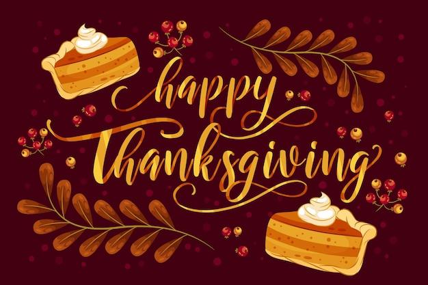 Happy thanksgiving belettering met taart Gratis Vector