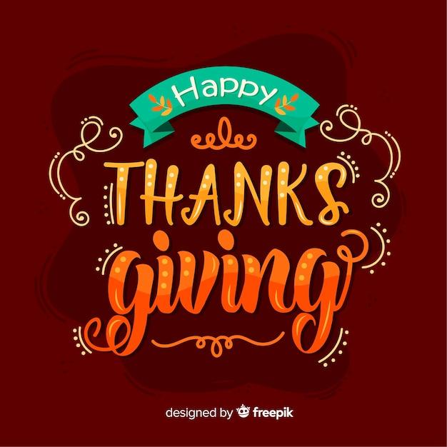 Happy thanksgiving belettering Gratis Vector