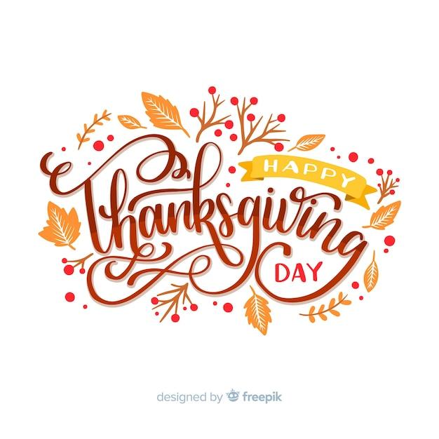 Happy thanksgiving concept met letters Gratis Vector
