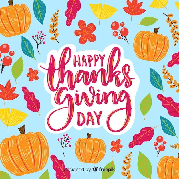 Happy thanksgiving dag belettering behang Gratis Vector