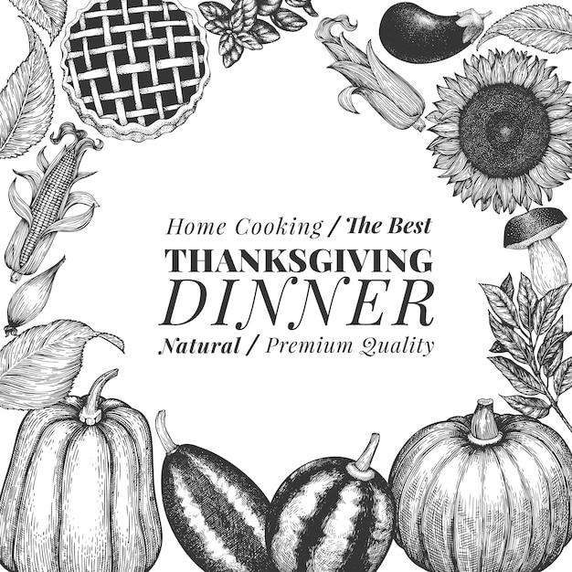Happy thanksgiving day-banner. vector hand getrokken illustraties. groet thanksgiving ontwerpsjabloon in retro stijl. herfst achtergrond. Premium Vector