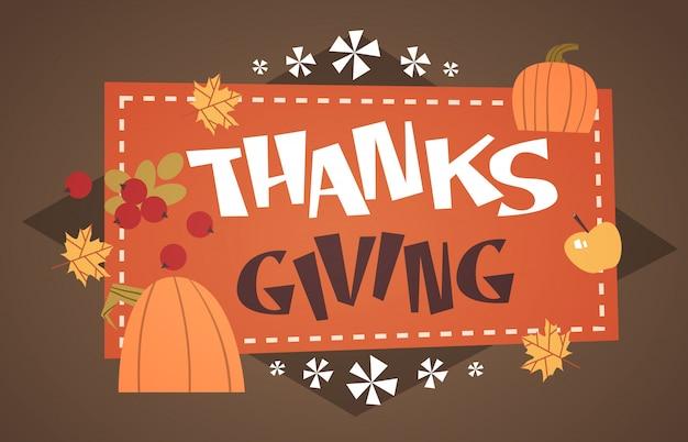 Happy thanksgiving day herfst traditionele oogst vakantie wenskaart Premium Vector