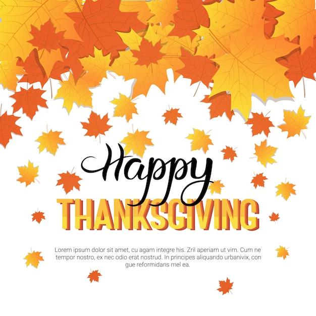 Happy thanksgiving day herfst traditionele wenskaart Premium Vector