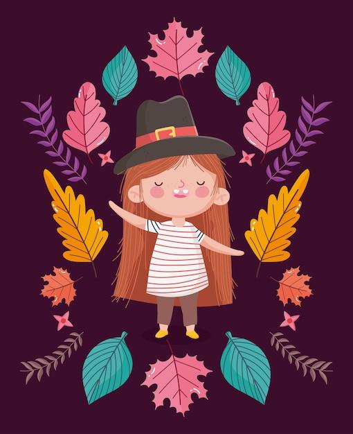 Happy thanksgiving day illustratie met schattig klein meisje met pigrim hoed Premium Vector