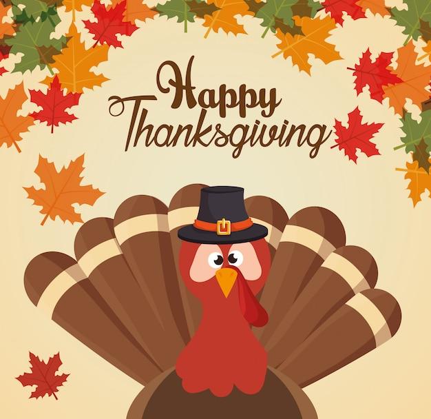 Happy thanksgiving day kaart groet turket aangepaste en bladeren Gratis Vector