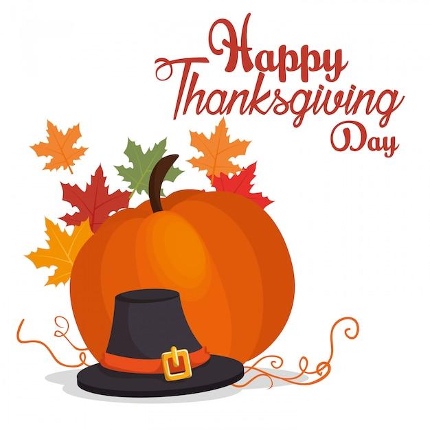 Happy thanksgiving day kaart grote pompoen hoed blad Gratis Vector