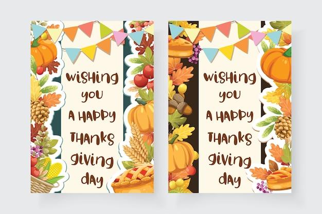 Happy thanksgiving day-kaart met esdoornblad en pompoen. Gratis Vector