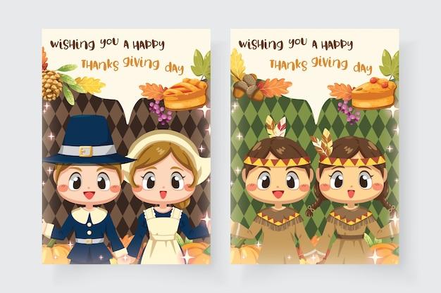 Happy thanksgiving day-kaart met jongen en meisje Gratis Vector