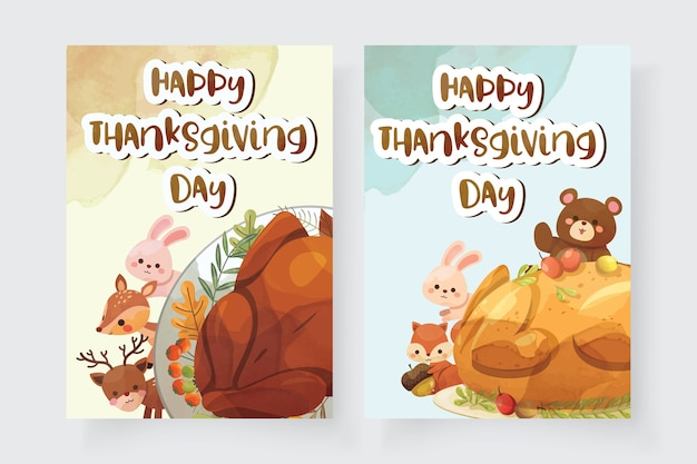 Happy thanksgiving day-kaart met kalkoen, eekhoorn, beer, konijn en hert Gratis Vector