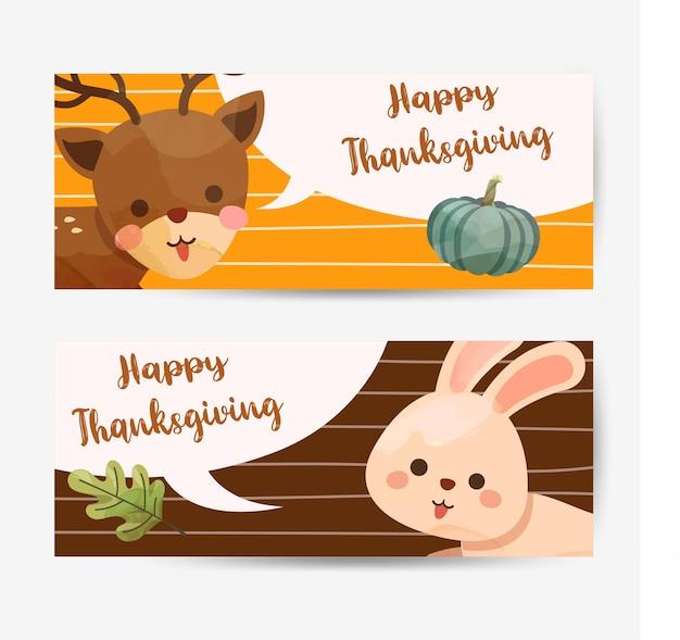 Happy thanksgiving day-kaart met konijn, herten, pompoen en bladeren. Gratis Vector