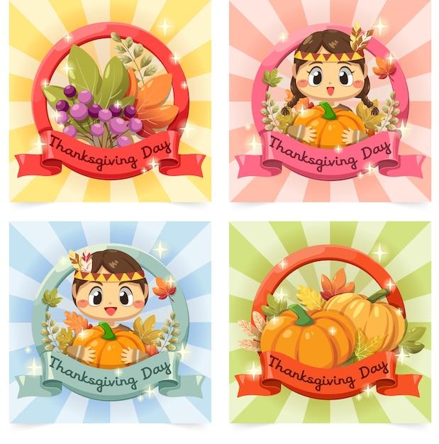 Happy thanksgiving day-kaart met meisje, esdoornblad en pompoen. Gratis Vector