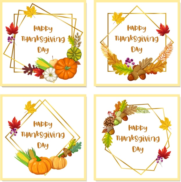 Happy thanksgiving day-kaart met pompoen, appel, maïs en esdoornbladeren Gratis Vector