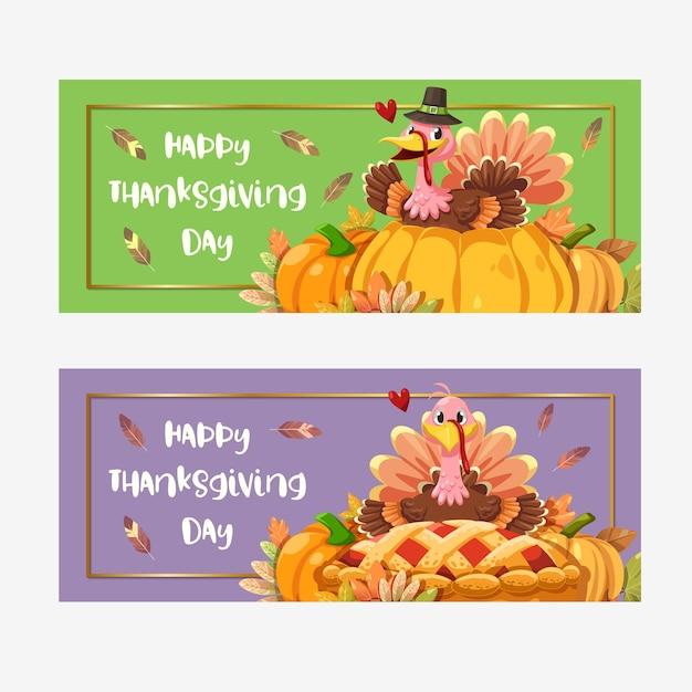 Happy thanksgiving day-kaart met turkije Gratis Vector