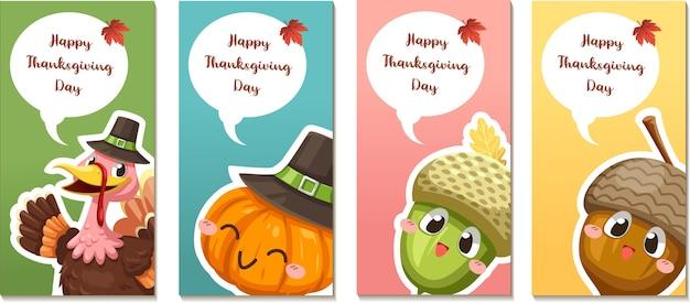 Happy thanksgiving day-kaart of flyer met kalkoen, pompoen en walnoten Gratis Vector