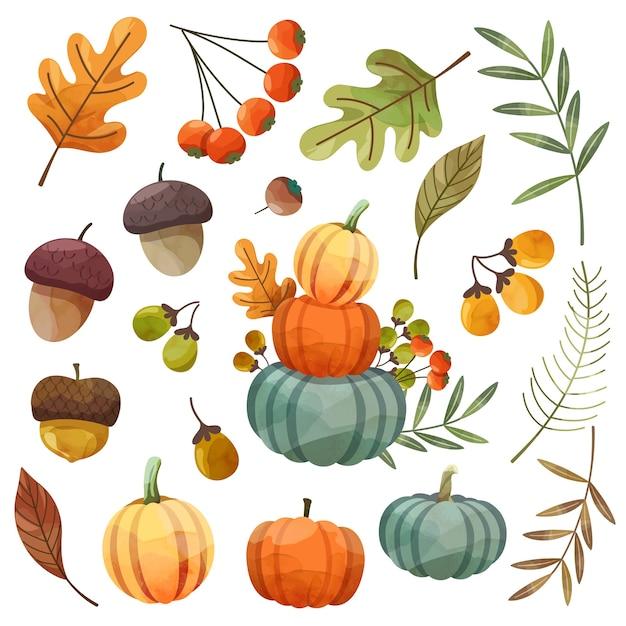 Happy thanksgiving day-kaart of flyer met walnoot, pompoen en esdoornbladeren. Gratis Vector