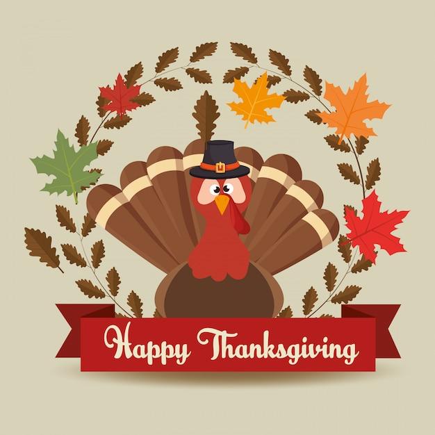 Happy thanksgiving day kaart turket hoed verlaat banner Gratis Vector