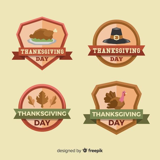 Happy thanksgiving day label collectie Gratis Vector
