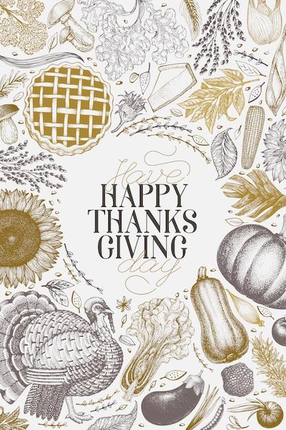 Happy thanksgiving day ontwerpsjabloon Premium Vector