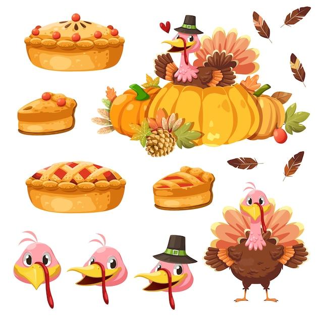 Happy thanksgiving day-pictogram met turkije, pompoen en taart Gratis Vector