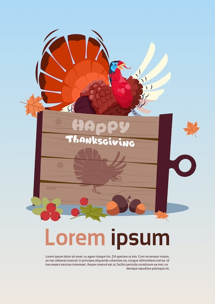Happy thanksgiving day poster. herfst traditionele oogst Premium Vector