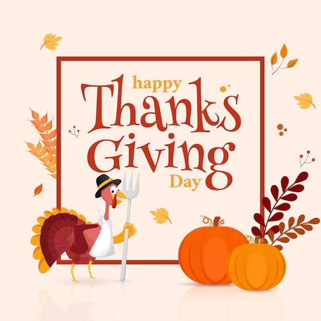 Happy thanksgiving day-tekst met turkije-vogel holding vork, pompoenen, tarwe oren en bladeren versierd op witte achtergrond. Premium Vector