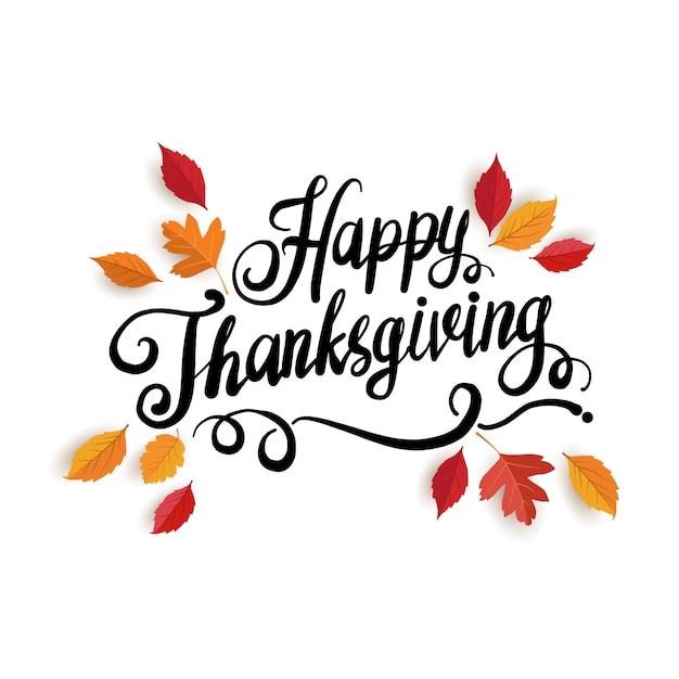 Happy thanksgiving day wenskaart met letters en bladeren Premium Vector