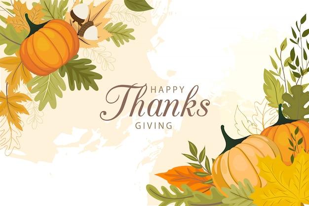 Happy thanksgiving day wenskaartsjabloon met groenten en kleurrijke bladeren. Premium Vector