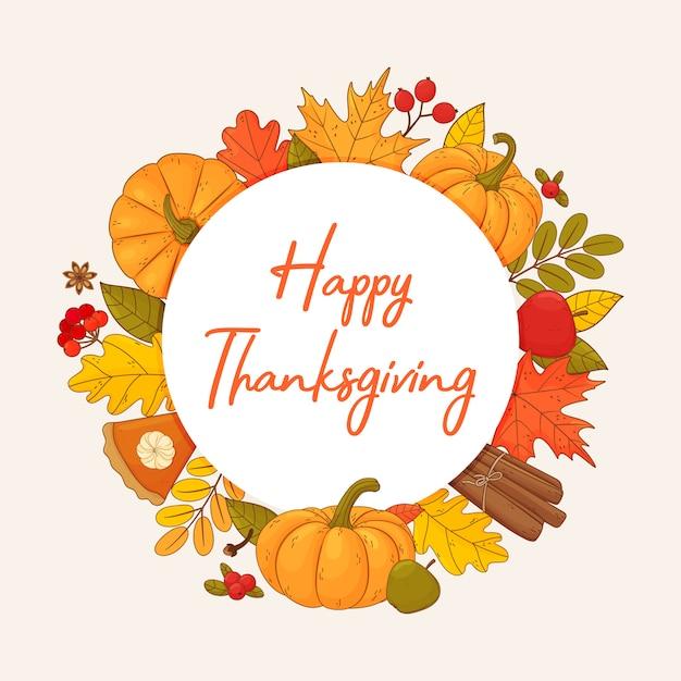Happy thanksgiving herfst frame. rond frame met verschillende bladeren, pompoenen, pompoentaart, kruiden, bessen. Premium Vector