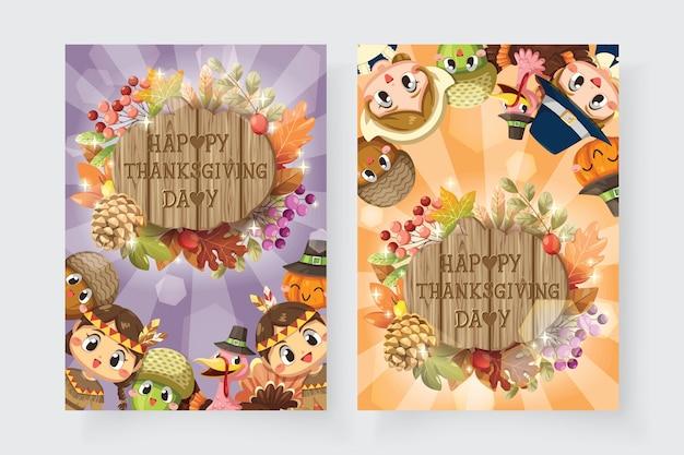Happy thanksgiving-kaart met jongen, vrouw, kalkoen en houten bord Gratis Vector