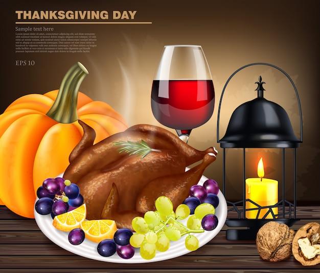 Happy thanksgiving kalkoen menu Premium Vector