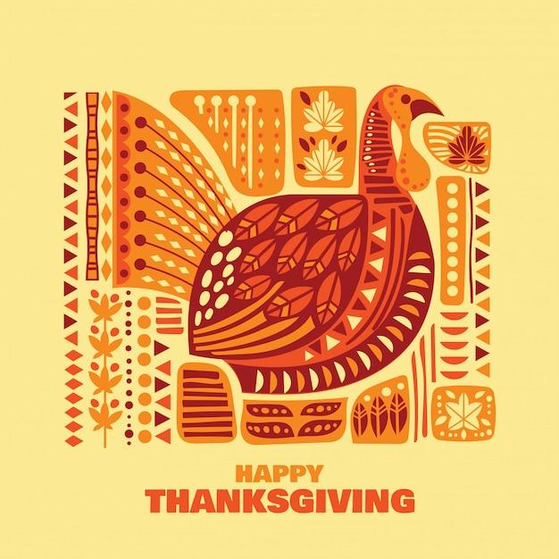 Happy thanksgiving kalkoenen en decoratie met design element set Premium Vector